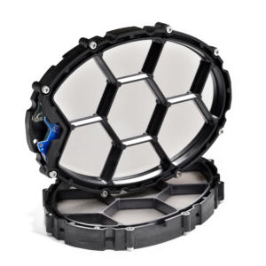 The HPEL Transducer has an oval shaped frame with a honeycomb infrastructure