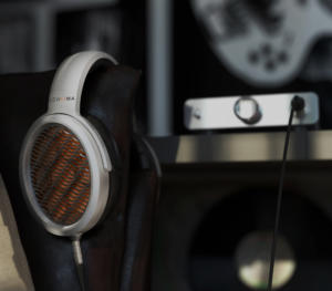 The Sonoma Headphone, DAC and Energizer resting on the back of a chair